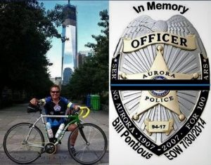 In memory of Pontious badge and bike